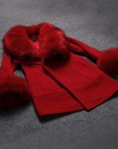 şarap kırmızı kürklü kadın kruvaze palto sk1326