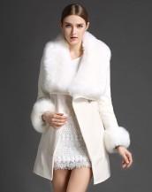 4 farklı renk kürklü kruvaze beyaz palto sk-1326