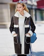 içi polar siyah deri palto sk-693