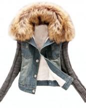 kürk yakalı içi peluş kot ceket sk-793