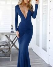 sırt dekolteli v yaka lacivert elbise sk-1557