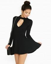 uzun kollu pileli mini elbise sk-1628
