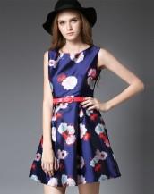 çiçek baskılı lacivert mini elbise sk-2069