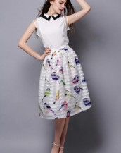 eteği kuş desenli yazlık şifon elbise sk-2153