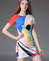 kısa kollu renkli desenli mini elbise sk-2033