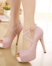 simli platform ayakkabı pudra sk2929