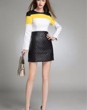 uzun kollu deri etekli iş elbisesi sk2467