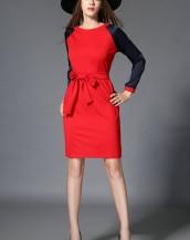 uzun kollu kırmızı kuşaklı midi elbise sk2476