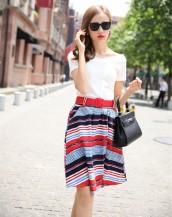 v yaka kırmızı kemerli yazlık elbise sk-2130