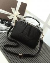 çift fermuarlı deri siyah çanta sk4373