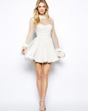 şifon beyaz mezuniyet elbisesi sk3873