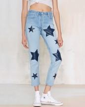 buz mavisi rengi yüksek bel jean kot pantolon sk5393
