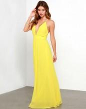 dekolteli maksi sarı elbise sk3329