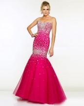 deniz kızı taşlı fuşya rengi abiye gece elbisesi sk5330