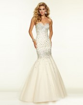 deniz kızı taşlı krem rengi abiye gece elbisesi sk5330