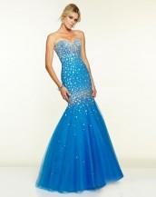deniz kızı taşlı mavi renk abiye gece elbisesi sk5330