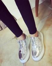 gümüş renk platform rugan oxford ayakkabı sk5370