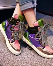 gerçek deri gizli topuklu renkli sneaker sk5385