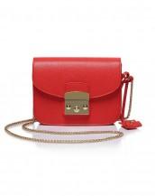 kırmızı zincirli küçük kol çantası sk5587
