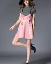 kısa kollu mini elbise pudra sk3313