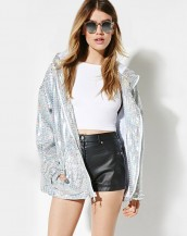 kapüşonlu payetli ceket sk3399