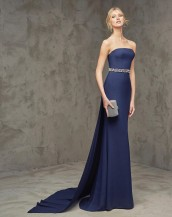 lacivert renk straplez saten balık abiye gece elbisesi-sk5323