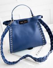 mavi deri örgülü kol çantası sk5608