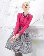 pembe renk desenli yakalı baharlık şifon bluz sk5278
