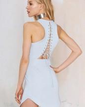 sırt dekolteli elbise buz mavisi sk3545