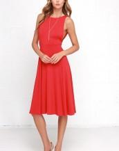 sırt dekolteli gece elbisesi kırmızı sk3748