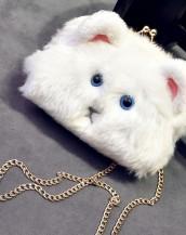 sevimli peluş kedi beyaz kol çantası sk5032