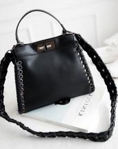 siyah deri örgülü kol çantası sk5608