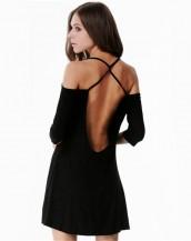 siyah renk derin sırt dekolteli mini elbise sk5400