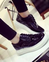 siyah renk platform rugan oxford ayakkabı sk5370