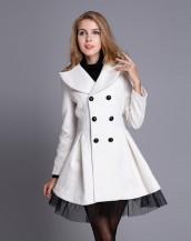 tül detaylı kruvaze beyaz ceket sk3389