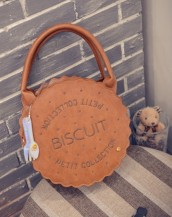 taba rengi yuvarlak el çantası sk4834