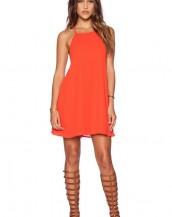 turuncu renk sırt dekolteli yazlık mini elbise sk4897
