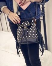 zımbalı püsküllü mini siyah sırt çantası sk5060