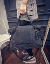 zımbalı süet siyah kol çantası sk4601