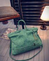 zımbalı süet yeşil kol çantası sk4601