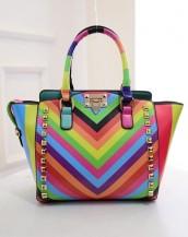 çok renkli zımbalı trapeze kol çantası sk7866