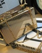 altın rengi metal küçük el çantası sk5784