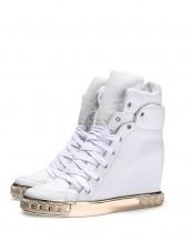 altın rengi metal platform beyaz deri sneaker sk7599