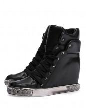 altın rengi metal platform siyah deri sneaker sk7599