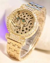 altın rengi taşlı leopar kol saati sk5883