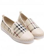 bej damalı beyaz tabanlı espadril ayakkabı sk6937