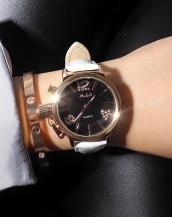 beyaz deri kordonlu taş detaylı saat sk8004