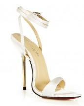 beyaz metal topuklu tokalı sandalet sk6495