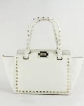 beyaz zımbalı trapeze kol çantası sk6309