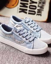 buz mavisi beyaz taşlı bez spor ayakkabı sk6047